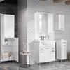 Biała łazienka z ceglastą ścianą i meblami Elita Amigo