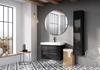 Biało-szara łazienka z czarnymi meblami