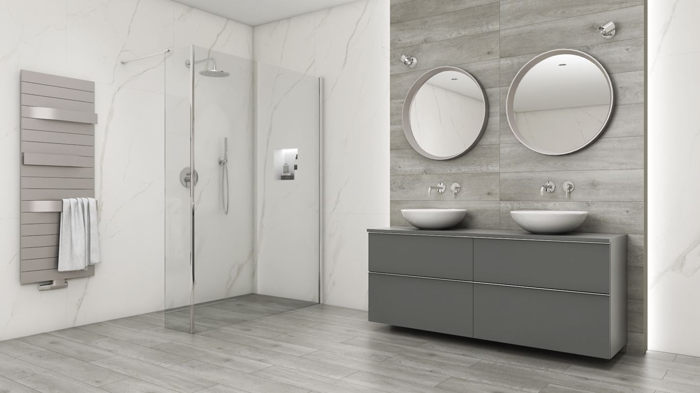 Łazienka w szarościach i jasnym marmurze z nablatowymi umywalkami Zero