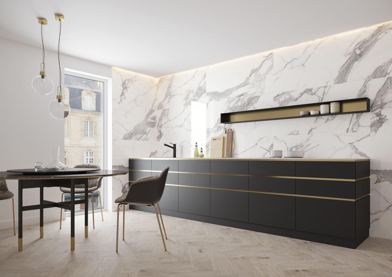Biały marmur w kuchni- Cerrad Calacatta white