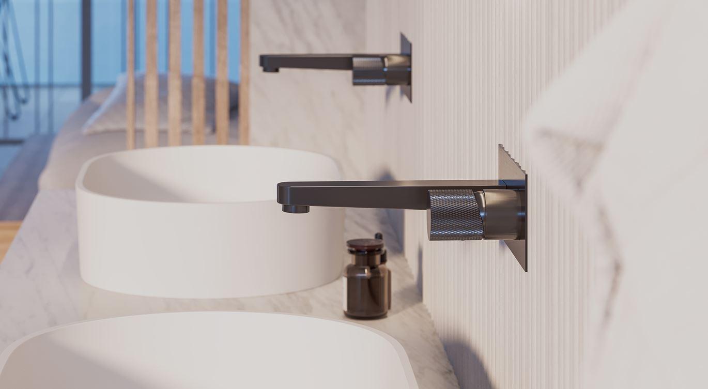 Antracytowa bateria podtynkowa do umywalki