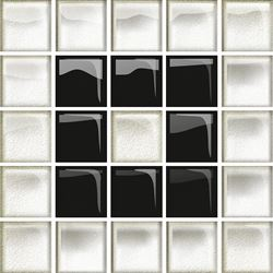 Opoczno Glass White/Black Mosaic  B New OD660-117
