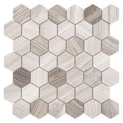 Azario Woodstone Grey Hexagon 48