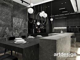 Modne, monochromatyczne wnętrze kuchni