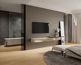 Łazienka przy sypialni w stylu glamour
