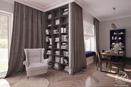Biblioteczka w eleganckim salonie