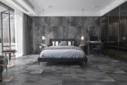Sypialnia glamour w wielkoformatowym kamieniu