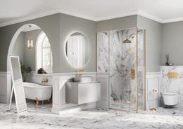 Biało-szara łazienka w marmurze