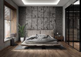Szara sypialnia z podłogą wykończoną w brązowym drewnie
