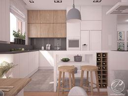 Biało-szara kuchnia z dodatkiem ciepłego drewna Progetti Architektura