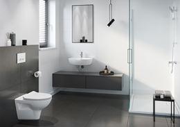 Nowoczesna łazienka w bieli i ciemnoszarym kolorze