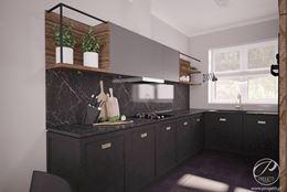 Czarna kuchnia z minimalistyczną zabudową
