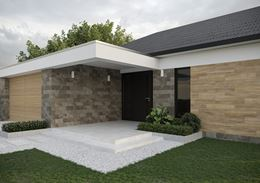 Wejście do domu i minimalistyczny ogród