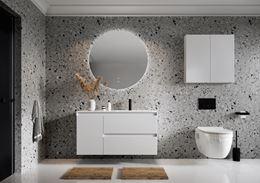 Nowoczesna łazienka w szarym kamieniu z białymi meblami