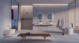 Duża łazienka w bieli, kamieniu i drewnie