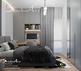Aranżacja szarej sypialni z biurkiem i szafą