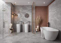 Łazienka w stylu glamour w szarym kamieniu
