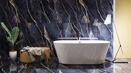 Niebieska łazienka glamour w marmurze Azario Talio Blu