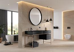 Beżowa łazienka z czarnymi akcentami