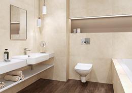 Łazienka w beżach z białą ceramiką
