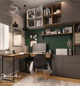 Narożne biurko przy zielonej ścianie