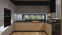 Kuchnia z podłużnym oknem pod szafkami