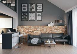 Salon z kuchnią wykończony cegiełkami Cerrad Piatto