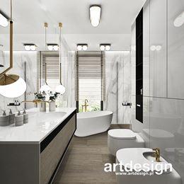 Wąska, podłużna łazienka w stylu nowoczesnym