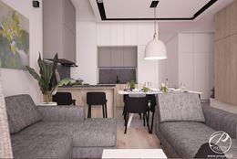 Biało-szary salon z czarnymi akcentami