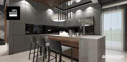 Luksusowa kuchnia z minimalistyczną, szarą zabudową