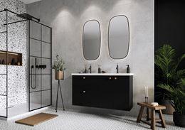 Styl industrialny w łazience z betonem i kamieniem