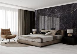 Sypialnia w stylu glamour w czarnym, polerowanym marmurze