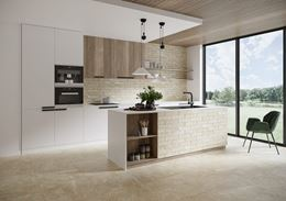 Nowoczesna biało-beżowa kuchnia z kamieniem i cegiełką