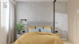 Betonowa ściana i designerska listwy oświetleniowa