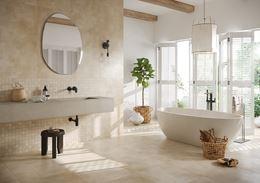 Aranżacja dużej łazienki w beżach