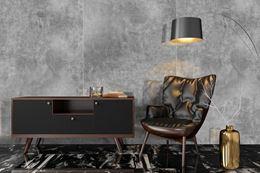 Stylowy salon w szarej, wielkoformatowej płytce