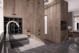 Drewnopodobna wysoka zabudowa kuchenna w nowoczesnym domu