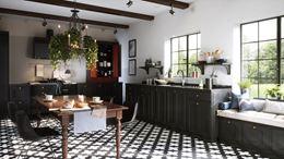 Klasyczna kuchnia w ciemnych barwach