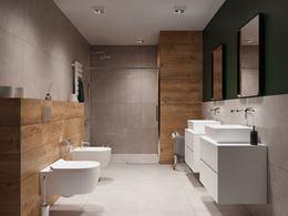 Szaro-brązowa łazienka z dodatkiem zieleni