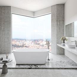 Aranżacja dużej łazienki w kamieniu i betonie