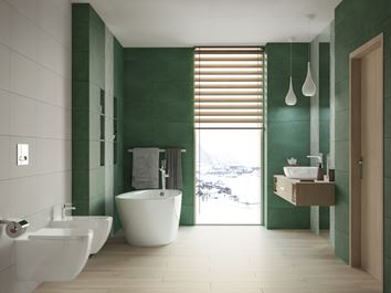 Aranżacja biało-zielonej łazienki w kolekcji Tubądzin Touch
