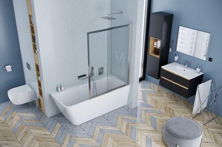 Nowoczesna łazienka w jodełce z wanną narożną