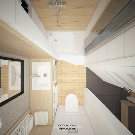 Funkcjonalny podział stref w małym wnętrzu - łazienka