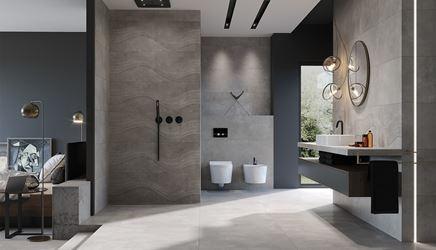 Industrialna łazienka przy sypialni