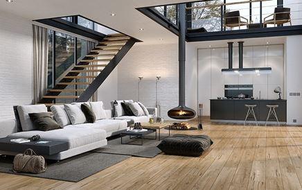 Przestronny salon w loftowym klimacie