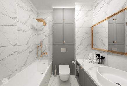 Jasna łazienka z marmurowymi płytkami i szarością