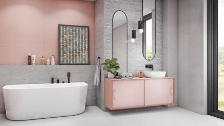 Szarości i róże w stylowej łazience