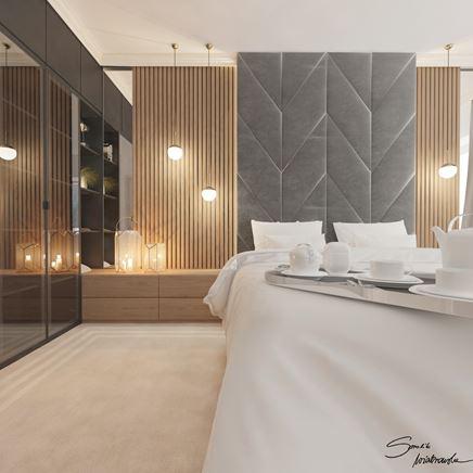 Drewniane lamele w przytulnej sypialni