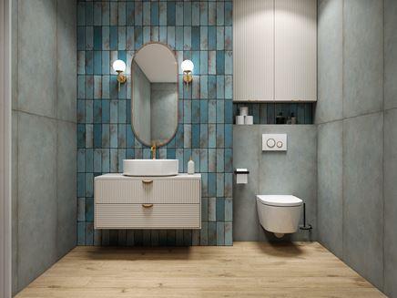 Łazienka w odcieniach koloru niebieskiego