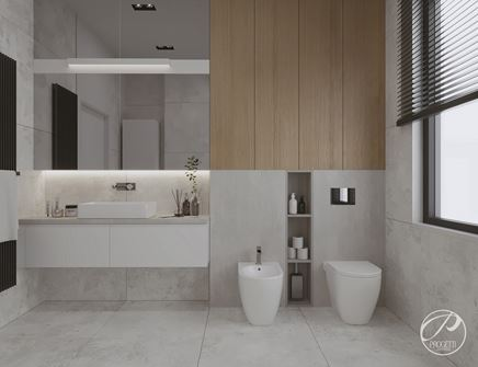 Jasny beton i ciepłe drewno w łazience z oknem